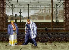 Fatal Fury 3: Road to the Final Victory Neo Geo The Fatal Fury bosses of old and new look each other down. Do you notice Yamazaki's fur coat?