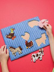 Plastic Canvas - This simple puzzle will help with eye-hand coordination, and it's also lots of fun! Made using worsted-weight yarn and plastic canvas, it measures 10 x 13 - Plastic Canvas Crafts, Plastic Canvas Patterns, Needlepoint Patterns, Cross Stitch Patterns, String Crafts, Paper Crafts, Plastic Mesh, Crochet Cross, Canvas Designs