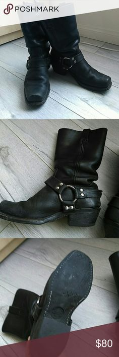 Black Frye Boots bundle with other items in my closet for huge savings! These Boots Are authentic Frye with a bit of wear on the Soles but still have many years of life in them. In good condition. Fits sizes 8-9. I listed as 9 bc they're a bit bigger. Frye Shoes Combat & Moto Boots