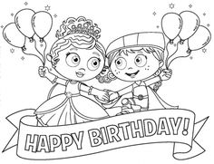 princess pea and red in super why happy birthday coloring page