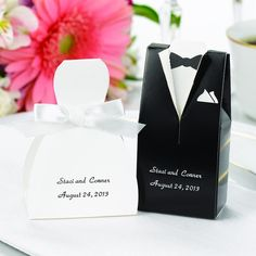 We love these!!! Wedding Gown and Groom's Tuxedo Wedding Favor Boxes