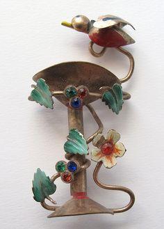 Vintage Bird Bath Pin
