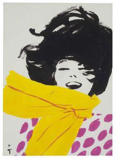 Esta sí, un clásico en favor de Dior y obra del virtuoso Rene Gruau, 1960.
