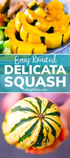 This roasted delicata squash recipe will give you a flavor packed side dish in 30 minutes or less! Delicata squash is a beautiful long squash with a thin edible skin. The best way to eat it to toss with a little oil and herbed seasoning salts, then roast in the oven. #squash #squashrecipes #fallsquash #delicatasquash #delicatarecipes #delicatasquashrecipes #roasteddelicatasquash #fallrecipes #winterrecipes #wintersquash #sidedish #sidedishrecipes #sides