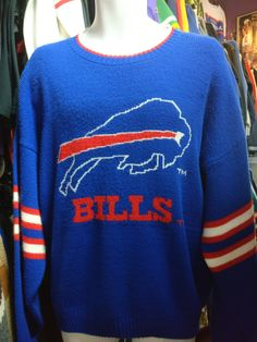 Vintage 90s BUFFALO BILLS NFL Barrel Sweater L 266bdaa51