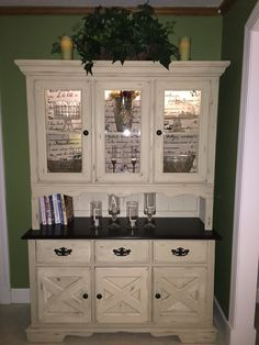 Redone hutch with Annie Sloan chalk paint in Old Ochre and general finishes Java gel stain on top