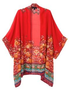 Shop Red Floral Batwing Sleeve Kimono Coat from choies.com .Free shipping Worldwide.