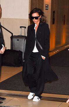 No heel-ing it: The fashion designer, 42, was seen leaving her hotel in Manhattan on Wedne...