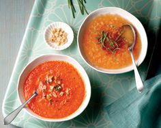 3 Delicious Cold Soups for Summer - Fizzy Melon, Smoky Roasted Pepper, and Minted Pea soups.