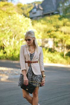 Beige blazer belted over printed dress - great work outfit