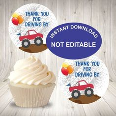 Drive by Birthday Party Cupcake Toppers, Party Favor Tags, Instant Download, Quarantine Monster Truck Drive by Favor Tags, Truck Labels