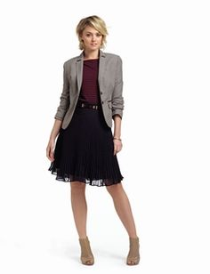 The Limited Top Look, Fall, 2012 -  Love the pleated skirt with burgundy and navy striped top.