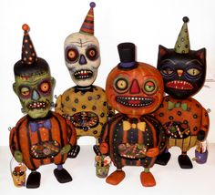 Bellyachers - Original Halloween folk art wood carvings by Greg Guedel - wood, wire and clear resin.