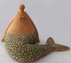 Nude Sculpture - Ceramic sitting mermaid sculpture 3d table ceramic art