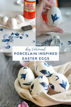 Easy to make Porcelain Inspired Easter Eggs by decoupaging printable designs on your egg. Easter Egg decorating with Mod Podge, a foam brush and printable designs and a full DIY Tutorial found on TodaysCreativeLife.com Easter Egg Crafts, Easter Eggs, Easter Decor, Diy Holiday Gifts, Holiday Crafts, Holiday Ideas, Easter Egg Designs, Easter Ideas, Easter Recipes