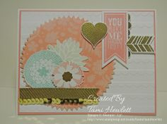 Supplies: Stamps:  Perfect Pennants, Petal Parade (Sale-A-Bration)  Paper:  Whisper White and Crisp Cantaloupe card stock, Gold Foil Sheets, and Secret Sorbet Designer Series Paper (Sale-A-Bration)  Ink:  Crisp Cantaloupe, Pistachio Pudding, Pool Party, Gold Metallic Encore  Accessories:  Big Shot, Banner and Starburst Framelits, Scallops Textured Impressions Embossing Folder, Gold Sequin Trim, Gold Stampin' Emboss Powder, Heat Tool, Itty Bitty Shapes Punch Pack,