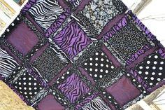 *******************************************    RAG QUILT Purple Black Zebra Girl Rockstar *******************************************