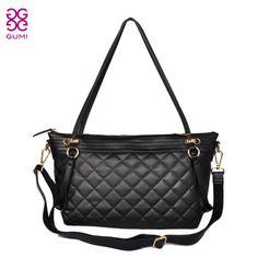 Gumi 2013 fashion cowhide genuine leather brief women handbags personalized plaid messenger bag$108.56