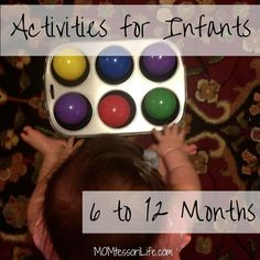 Activities for Infants -- this simple activity for your babies uses balls and a muffin tin to work on fine motor skills, gross motor skills, and hand-eye coordination!
