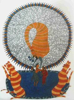 Tigers  by Rajendra Singh Shyam, Gond art of India