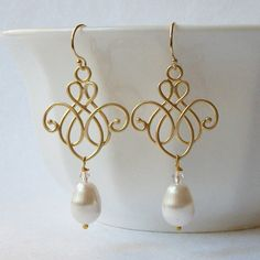Pearl Filigree Dangle Earrings by PeriniDesigns on Etsy