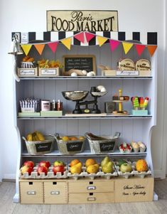 Fun! A DIY play food market for the kiddos. If only my house was large enough for this... maybe in smaller scale? via: http://katescreativespace.com/2012/04/24/open-for-business/