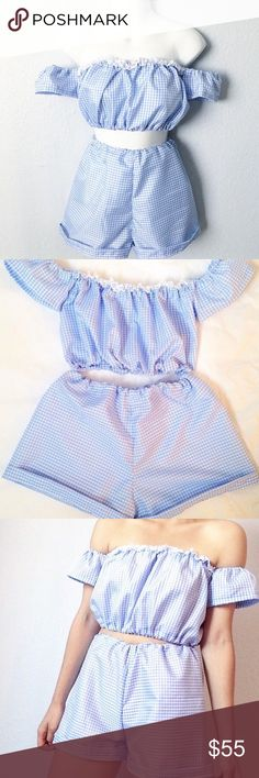Blue Gingham Summer Shorts and Top Set Comes with both the off shoulder top and the high waisted shorts. (Not O-mighty). No trades. Size Small! Brand new with tags. Could fit an XS-Medium. Has lots of stretch. PRICE IS FIRM. O-mighty Tops