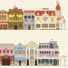 Museum-Quality Buildings of Main Street Print Disney Concept Art, Disney Art, Walt Disney World, Disneyland Main Street, Disneyland Map, Planet Coaster, Minecraft Architecture, Parking Design, Bioshock