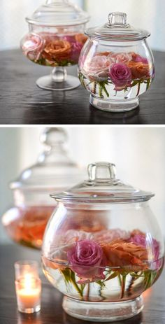 Easy Apothecary Jar and Rose Floral Arrangements | Click Pic for 26 DIY Wedding Centerpieces on a Budget | DIY Wedding Decorations for Outside