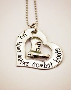 My hero wears combat boots  Hand Stamped by StampedMemoriesbyMel, $23.00