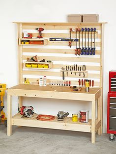 Workbench with Wall Storage Woodworking Plan. Two easy-to-build components—a sturdy workbench and a versatile tool-storage wall complete with custom tool racks—will make your workspace the envy of your friends. The durable MDF benchtop provides a solid, stable worksurface, and an ingenious set of blocks behind the rails turns an ordinary one-hand clamp into a vise. Featured in the October 2013 issue of WOOD.