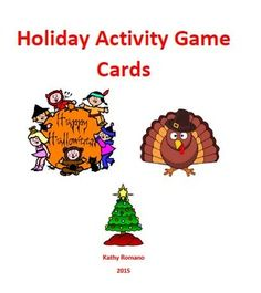 Fun alphabet holiday card games for Halloween, Thanksgiving, and Christmas.