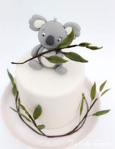 White Mini Baby cake with koala topper #ChristeningCakeToppers