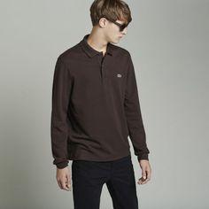 Men Polo Long Sleeve Brown