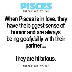 Zodiac Pisces Facts & When Pisces is in love, they have the biggest sense of humor and are always being goofy/silly with their partner& are hilarious. Aquarius Pisces Cusp, Pisces Traits, Pisces Love, Zodiac Signs Pisces, Pisces Quotes, My Zodiac Sign, Zodiac Facts, Pisces Man Pisces Woman, Pisces Humor