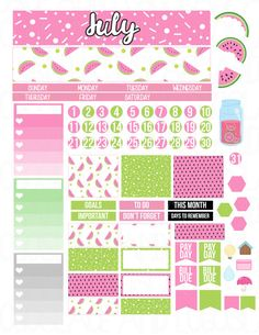 Printable Planner Stickers July Monthly Kit Erin by LaceAndLogos