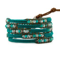 Turquoise Agate CLEAR crystal Metal beads on leather 5 wrap bracelet handmade #Bangle