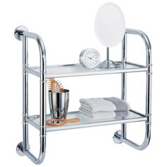 This chrome finish, two-tier bath shelf securely attaches to the wall for plenty of out-of-the-way storage that is easy to access. Use it to display decor, tissues, towels, potpourri, cosmetics or beauty and bath supplies.