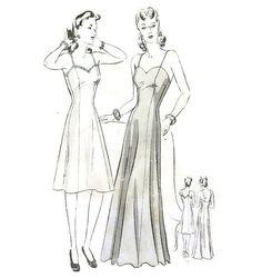 1940s Day or Evening Length Full Slip Pattern by willynillyart