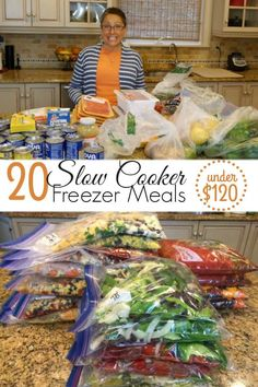 Four Kitchen Decorating Suggestions Which Can Be Cheap And Simple To Carry Out Check Out My Top 20 Slow Cooker Freezer Meals For Under 120 Save Time And Money With These Delicious Recipes. Slow Cooker Freezer Meals, Make Ahead Freezer Meals, Crock Pot Freezer, Dump Meals, Crock Pot Slow Cooker, Freezer Cooking, Crock Pot Cooking, Slow Cooker Recipes, Easy Meals