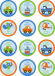 Boys Transportation Car Boat Truck Airplane Printable Cupcake Toppers Print Your Own 400 via Etsy 2nd Birthday Boys, Birthday Themes For Boys, Cars Birthday Parties, Auto Party, Cupcake Toppers Free, Cupcake Cupcake, Transportation Birthday, Party Favor Tags, Party Favors