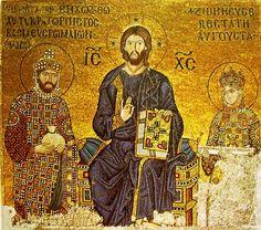 Konstantinápoly, Hagia Szóphia mozaikjai, D-i empórium: 1028-1042. Trónoló Krisztus IX. Konsztantinosz Monomachosszal (1042-55) és Zoé császárnővel (portrék cseréje: eredetileg III. Romanosz, 1034-ben IV. Mihály, 1042-ben 3. férje)