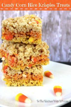 Candy Corn Rice Krispies Treats #Recipe www.InTheKitchenWithKP