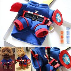 ATJC Pet Cat Dog America Captain Clothes funny Clothing Cosplay Costume Party Blue  Large. More descripiton on the website.