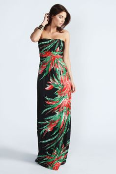 Bella Tropical Print Bandeau Maxi Dress
