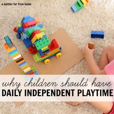 Great post on the benefits of giving children independent play time each day. They don't have to fight with their siblings for toys, they develop problem-solving and decision-making skills and self-confidence. Plus, it's a win for mom!