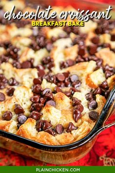 Chocolate Croissant Breakfast Bake - buttery croissants, cream cheese, sugar, eggs, milk and chocolate. Can assemble and refrigerate overnight. This is incredibly delicious! Can eat for breakfast or dessert. Perfect for Christmas morning!! Baked Breakfast Recipes, Breakfast Casserole Easy, Breakfast Bake, Breakfast Items, Sweet Breakfast, Breakfast Dishes, Brunch Recipes, Brunch Dishes, Christmas Morning Breakfast