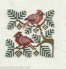 finished completed cross stitch PRAIRIE SCHOOLER birds cardinals PREORDER