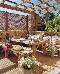 Like this style outdoor table & bench - - Tener en casa madera sana y bonita · ElMueble.com · Casa sana