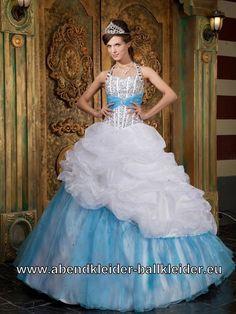 Damen Ballkleid in Blau Weisses Ballon Abendkleid Brautkleid